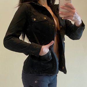 J. Crew NEW black jean light jacket boho trending